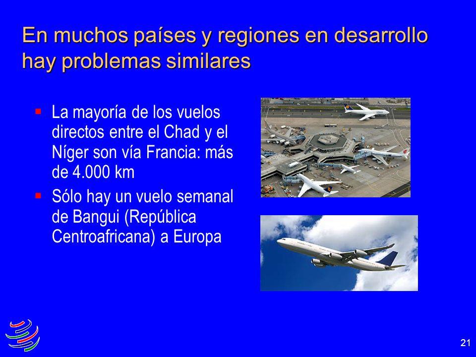 21 En muchos países y regiones en desarrollo hay problemas similares La mayoría de los vuelos directos entre el Chad y el Níger son vía Francia: más d