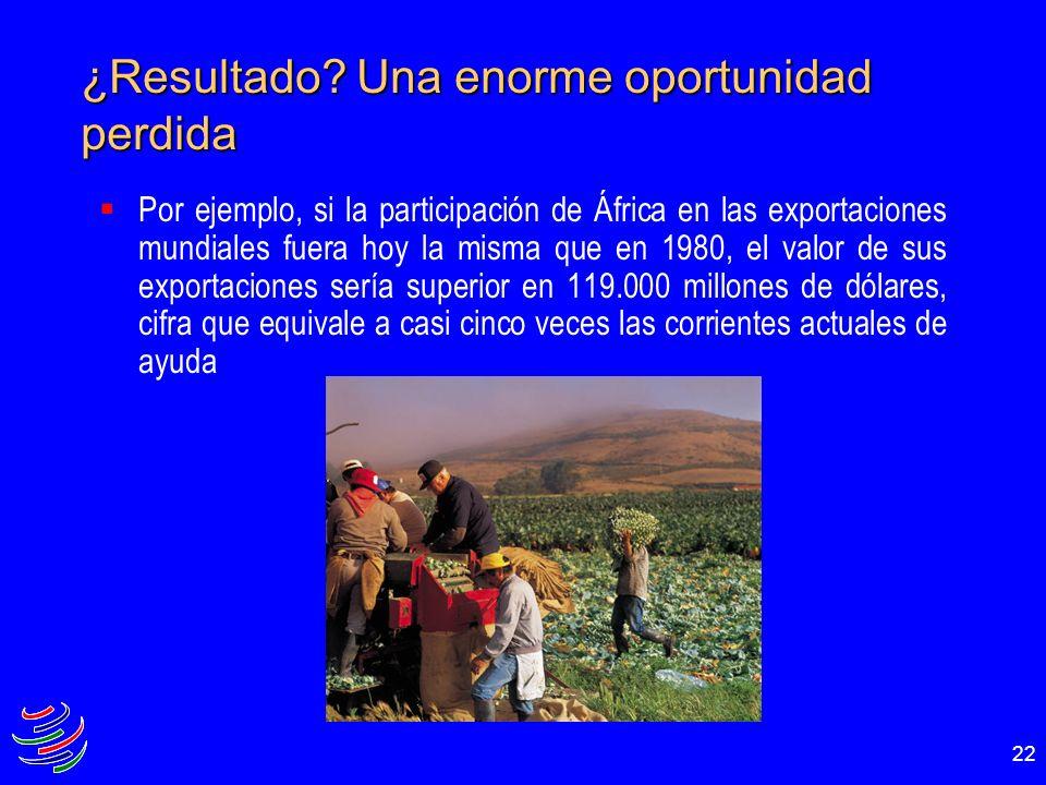 22 ¿Resultado? Una enorme oportunidad perdida Por ejemplo, si la participación de África en las exportaciones mundiales fuera hoy la misma que en 1980