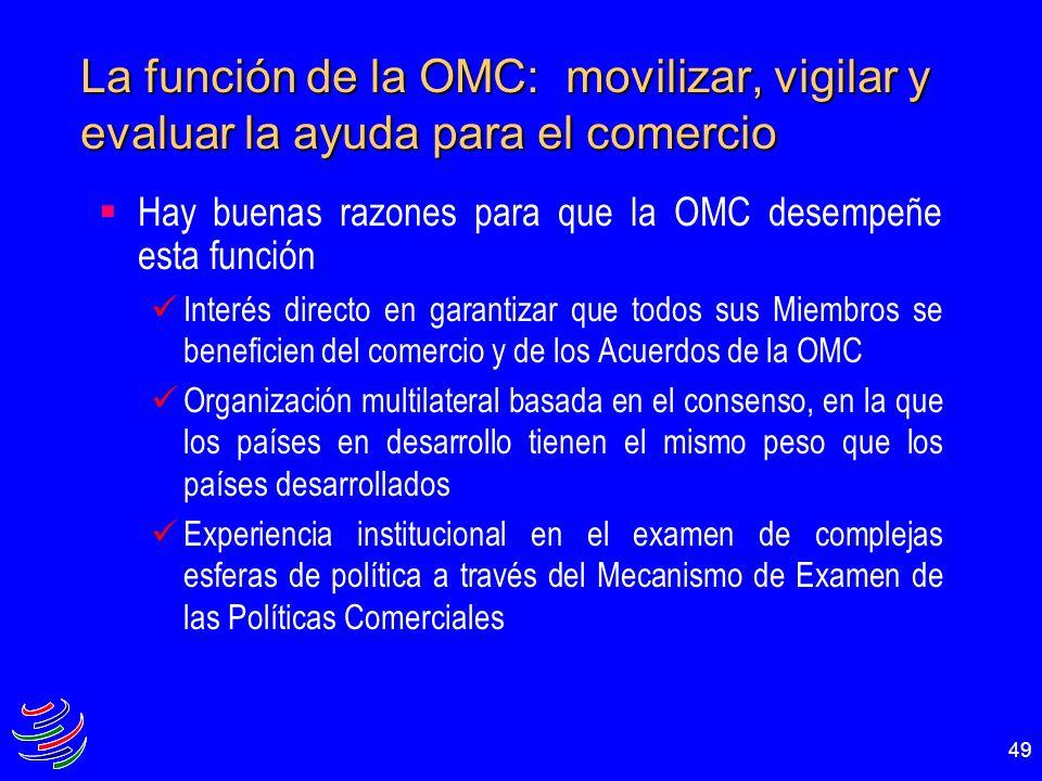 49 La función de la OMC: movilizar, vigilar y evaluar la ayuda para el comercio Hay buenas razones para que la OMC desempeñe esta función Interés dire