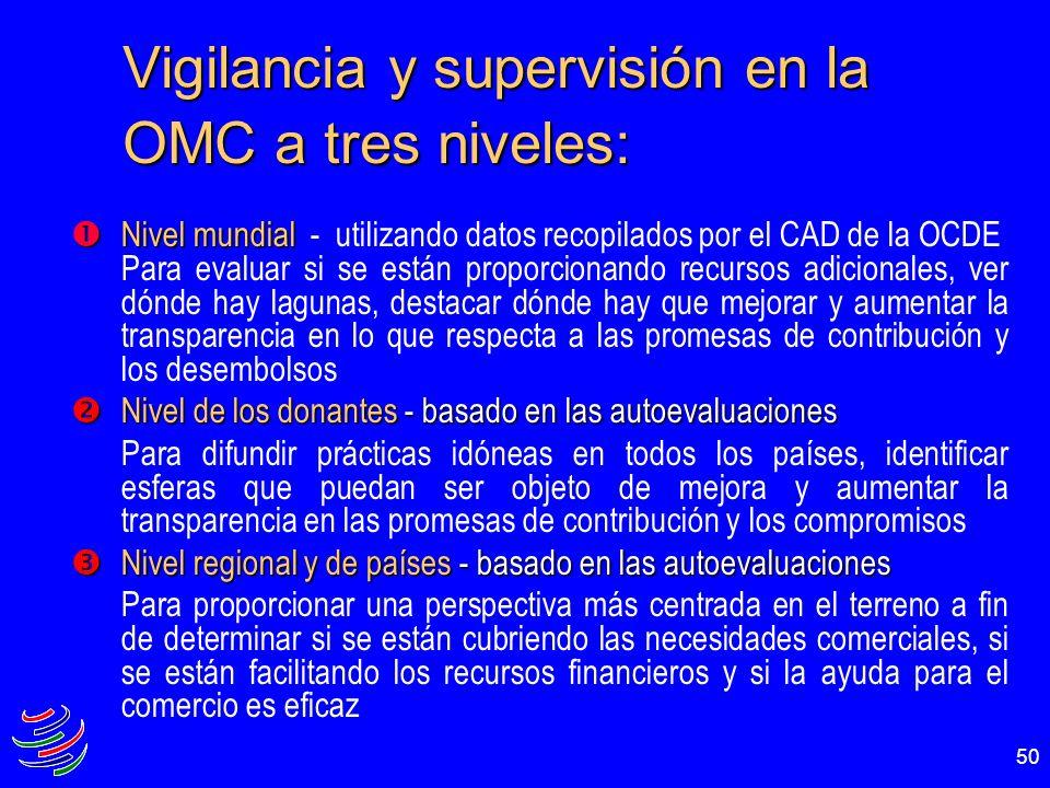 50 Vigilancia y supervisión en la OMC a tres niveles: Nivel mundial Nivel mundial - utilizando datos recopilados por el CAD de la OCDE Para evaluar si