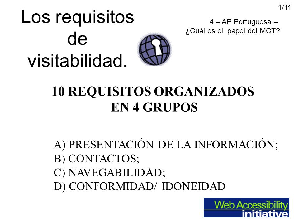 Los requisitos de visitabilidad. A)PRESENTACIÓN DE LA INFORMACIÓN; B) CONTACTOS; C) NAVEGABILIDAD; D) CONFORMIDAD/ IDONEIDAD 10 REQUISITOS ORGANIZADOS