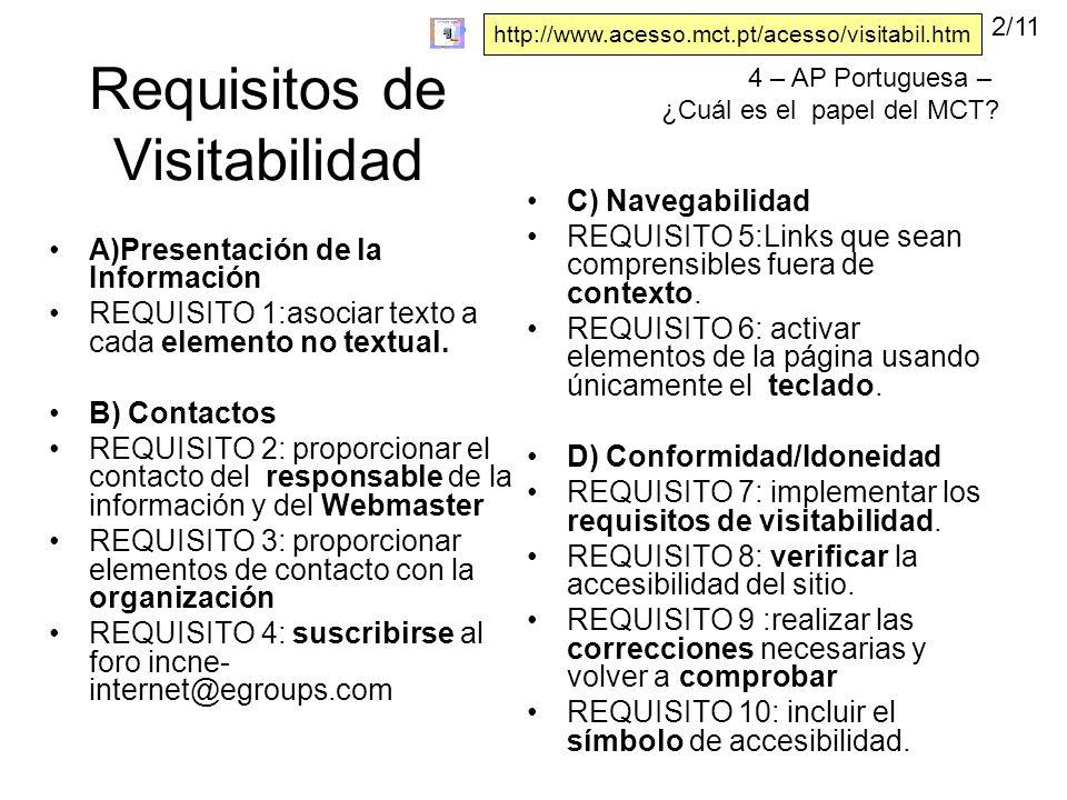 Requisitos de Visitabilidad A)Presentación de la Información REQUISITO 1:asociar texto a cada elemento no textual.