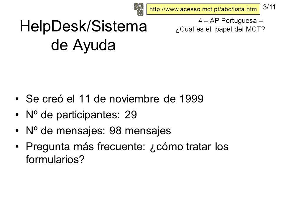 HelpDesk/Sistema de Ayuda Se creó el 11 de noviembre de 1999 Nº de participantes: 29 Nº de mensajes: 98 mensajes Pregunta más frecuente: ¿cómo tratar los formularios.