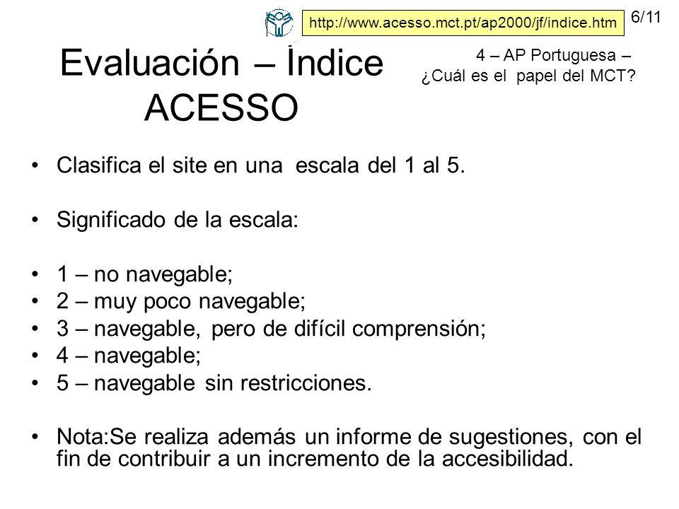 Evaluación – Índice ACESSO Clasifica el site en una escala del 1 al 5.