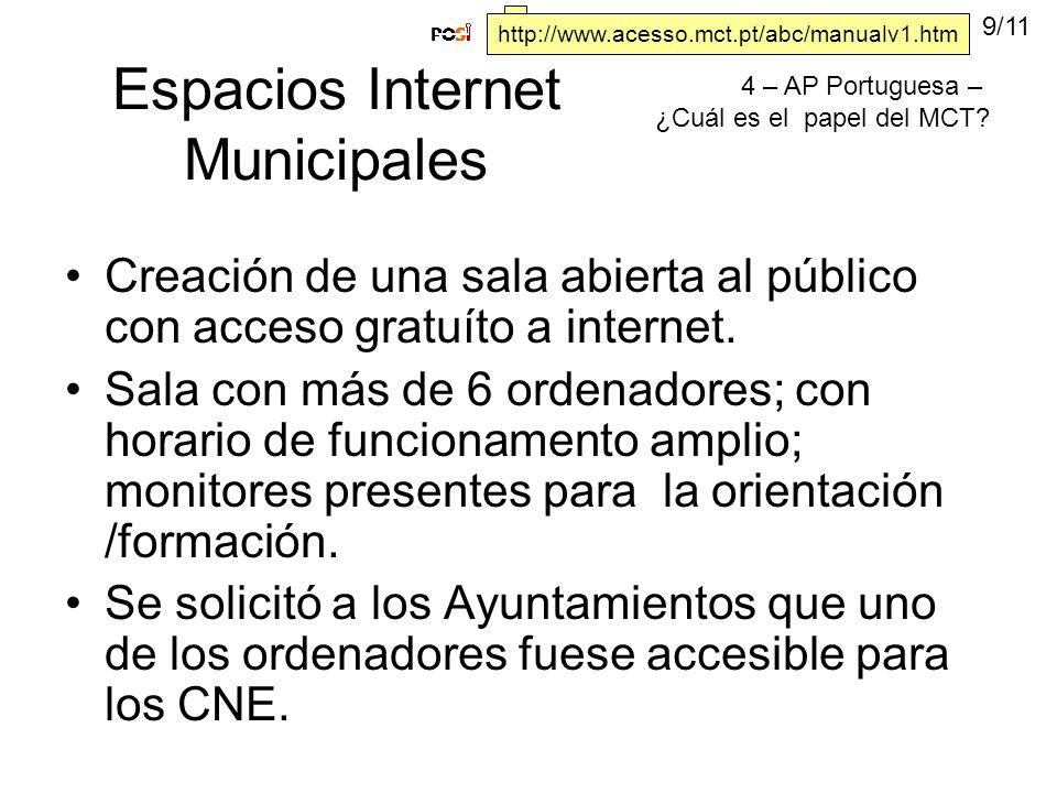 Espacios Internet Municipales Creación de una sala abierta al público con acceso gratuíto a internet.