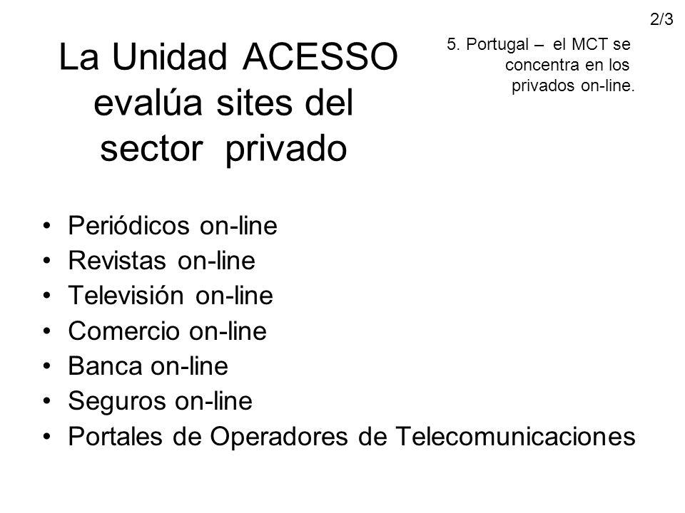 La Unidad ACESSO evalúa sites del sector privado Periódicos on-line Revistas on-line Televisión on-line Comercio on-line Banca on-line Seguros on-line Portales de Operadores de Telecomunicaciones 5.