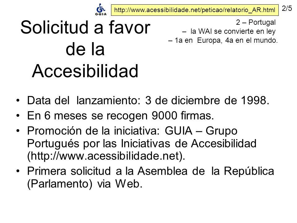 Solicitud a favor de la Accesibilidad Data del lanzamiento: 3 de diciembre de 1998.