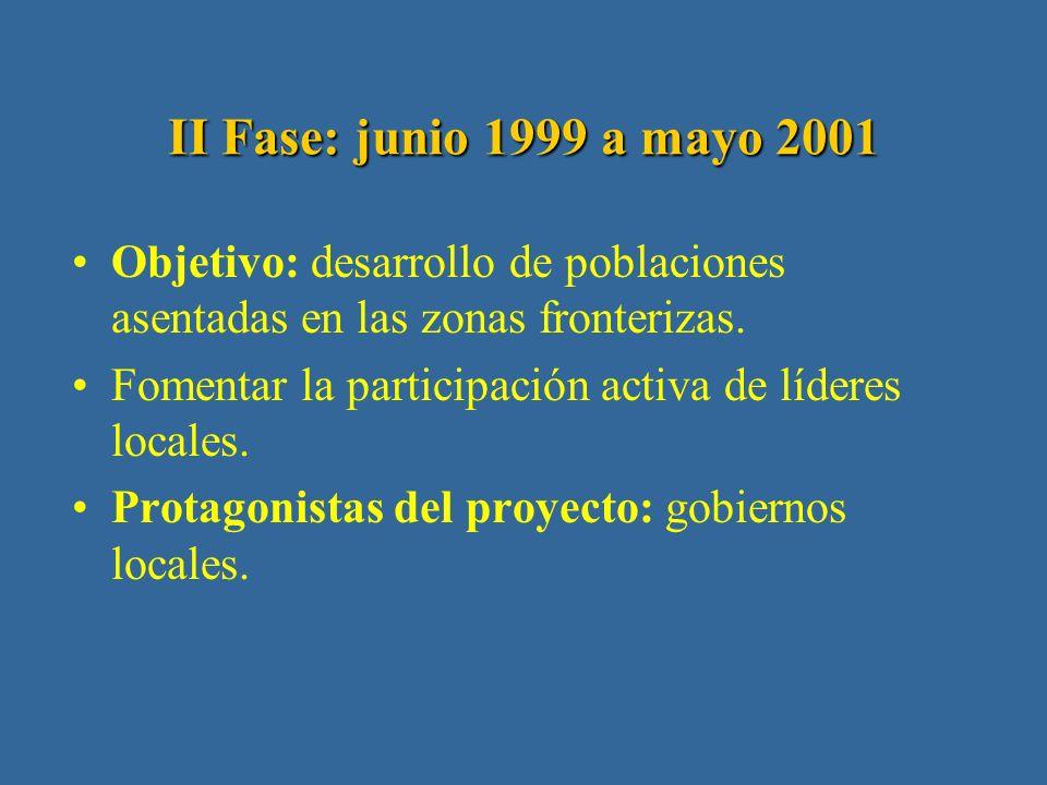 I Fase: junio 1997 a mayo 1999 Diagnóstico sobre los principales problemas fronterizos.