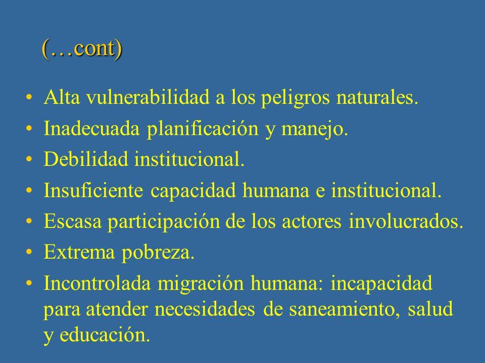 I Fase: 1998 -1999 Análisis de Diagnóstico Transfronterizo - identificación de los principales problemas Acelerada degradación de los ecosistemas transfronterizos.