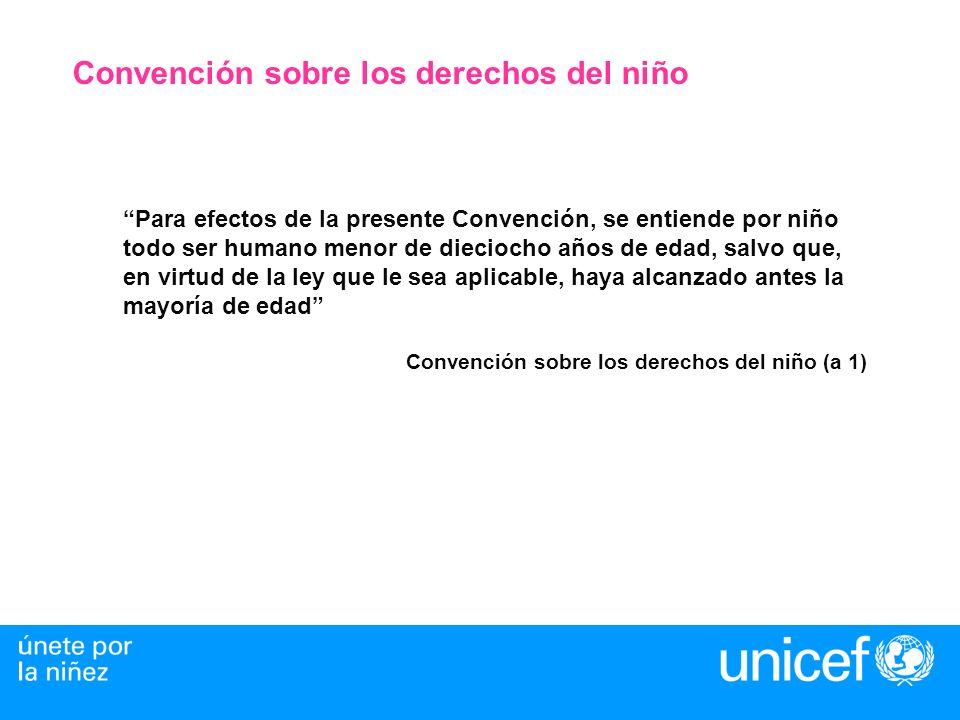 Convención sobre los derechos del niño Para efectos de la presente Convención, se entiende por niño todo ser humano menor de dieciocho años de edad, s