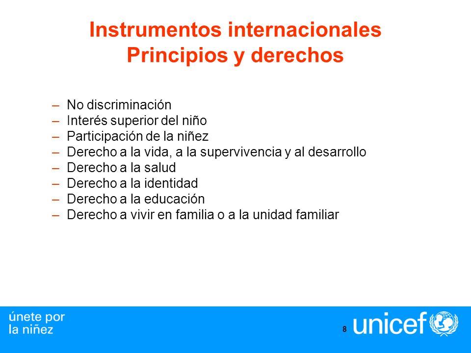 8 Instrumentos internacionales Principios y derechos –No discriminación –Interés superior del niño –Participación de la niñez –Derecho a la vida, a la