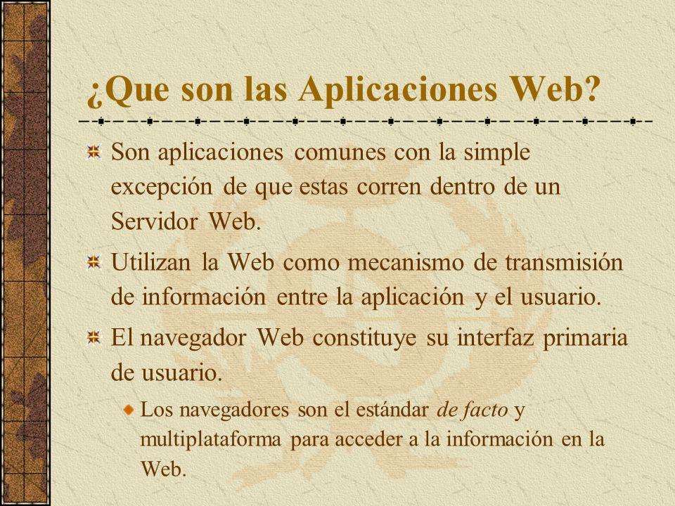 ¿Que son las Aplicaciones Web? Son aplicaciones comunes con la simple excepción de que estas corren dentro de un Servidor Web. Utilizan la Web como me