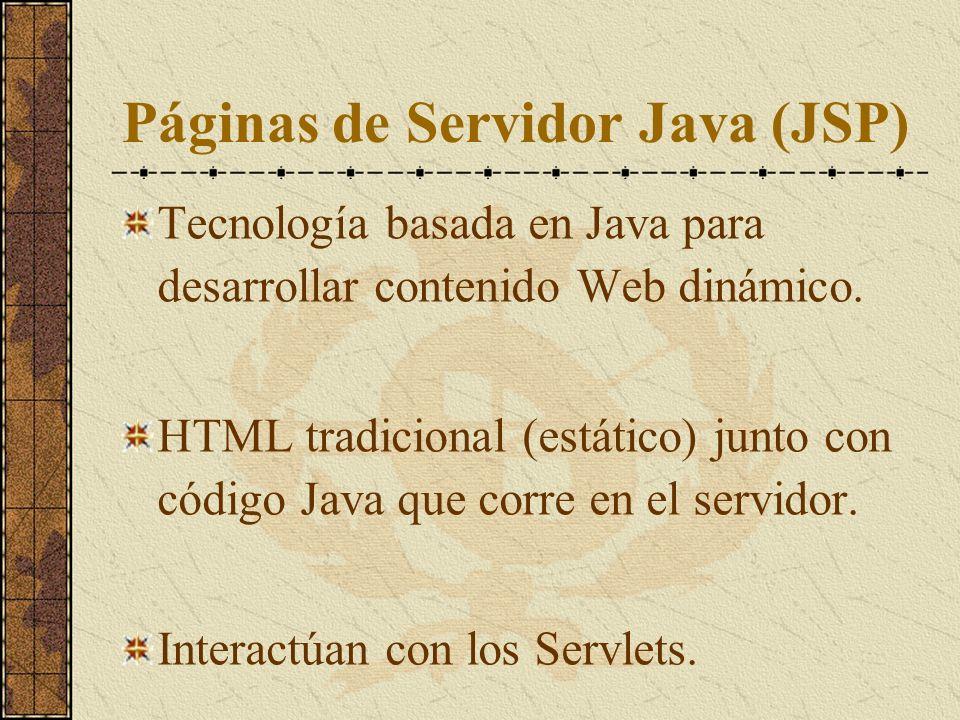 Páginas de Servidor Java (JSP) Tecnología basada en Java para desarrollar contenido Web dinámico. HTML tradicional (estático) junto con código Java qu