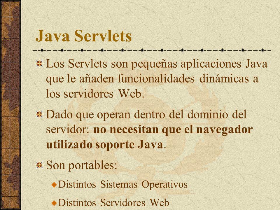 Java Servlets Los Servlets son pequeñas aplicaciones Java que le añaden funcionalidades dinámicas a los servidores Web. Dado que operan dentro del dom