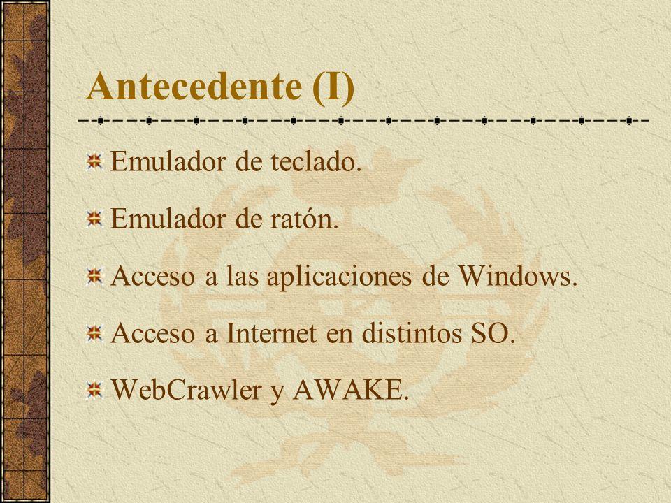 Antecedente (I) Emulador de teclado. Emulador de ratón. Acceso a las aplicaciones de Windows. Acceso a Internet en distintos SO. WebCrawler y AWAKE.