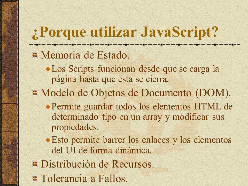 ¿Porque utilizar JavaScript? Memoria de Estado. Los Scripts funcionan desde que se carga la página hasta que esta se cierra. Modelo de Objetos de Docu