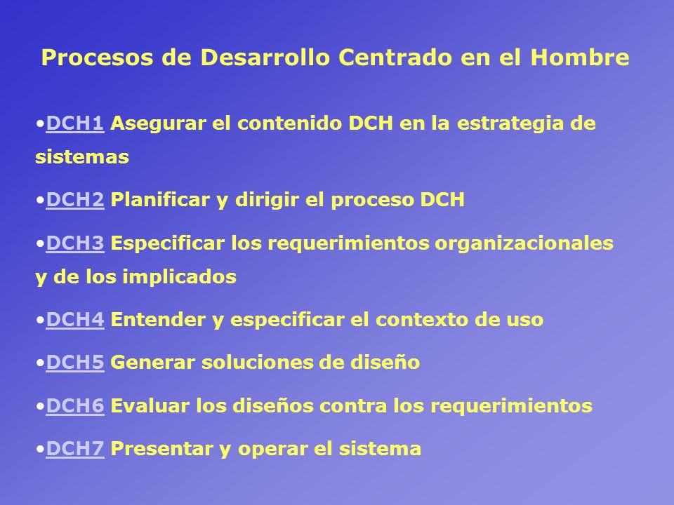 Procesos de Desarrollo Centrado en el Hombre DCH1 Asegurar el contenido DCH en la estrategia de sistemasDCH1 DCH2 Planificar y dirigir el proceso DCHD