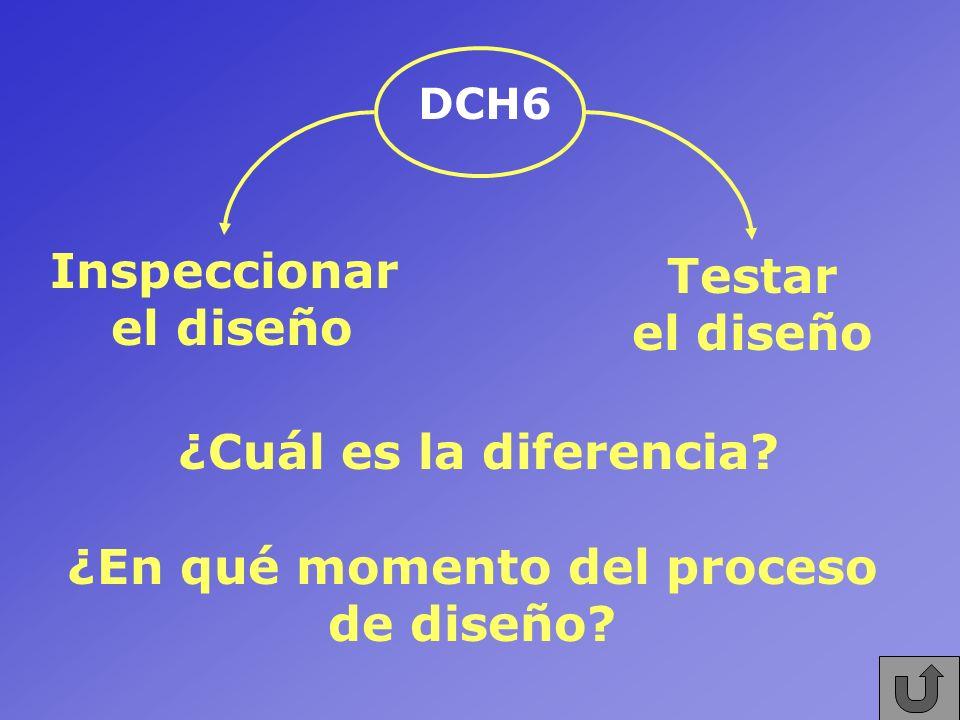 DCH6 Inspeccionar el diseño Testar el diseño ¿Cuál es la diferencia? ¿En qué momento del proceso de diseño?