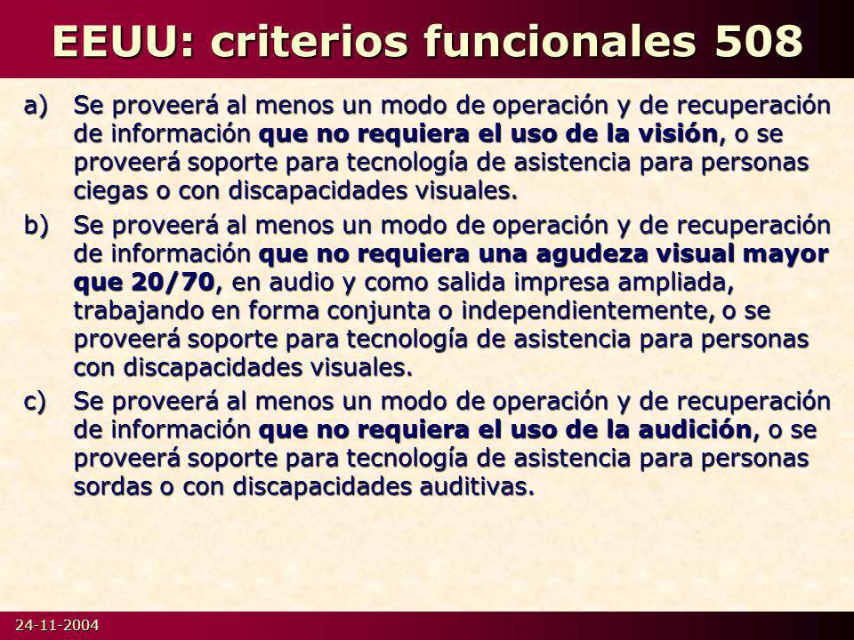 24-11-2004 EEUU: criterios funcionales 508 a)Se proveerá al menos un modo de operación y de recuperación de información que no requiera el uso de la visión, o se proveerá soporte para tecnología de asistencia para personas ciegas o con discapacidades visuales.