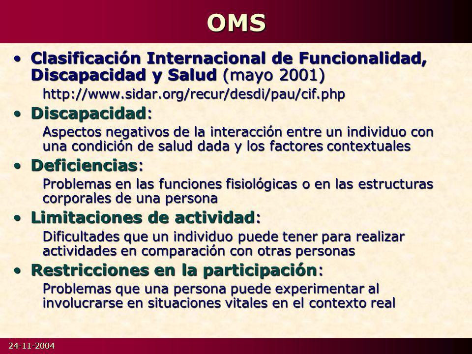 24-11-2004OMS Clasificación Internacional de Funcionalidad, Discapacidad y Salud (mayo 2001)Clasificación Internacional de Funcionalidad, Discapacidad y Salud (mayo 2001)http://www.sidar.org/recur/desdi/pau/cif.php Discapacidad:Discapacidad: Aspectos negativos de la interacción entre un individuo con una condición de salud dada y los factores contextuales Deficiencias:Deficiencias: Problemas en las funciones fisiológicas o en las estructuras corporales de una persona Limitaciones de actividad:Limitaciones de actividad: Dificultades que un individuo puede tener para realizar actividades en comparación con otras personas Restricciones en la participación:Restricciones en la participación: Problemas que una persona puede experimentar al involucrarse en situaciones vitales en el contexto real