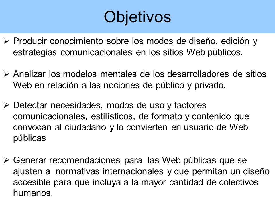 Producir conocimiento sobre los modos de diseño, edición y estrategias comunicacionales en los sitios Web públicos.