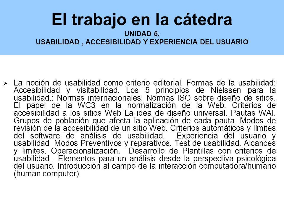 El trabajo en la cátedra UNIDAD 5.