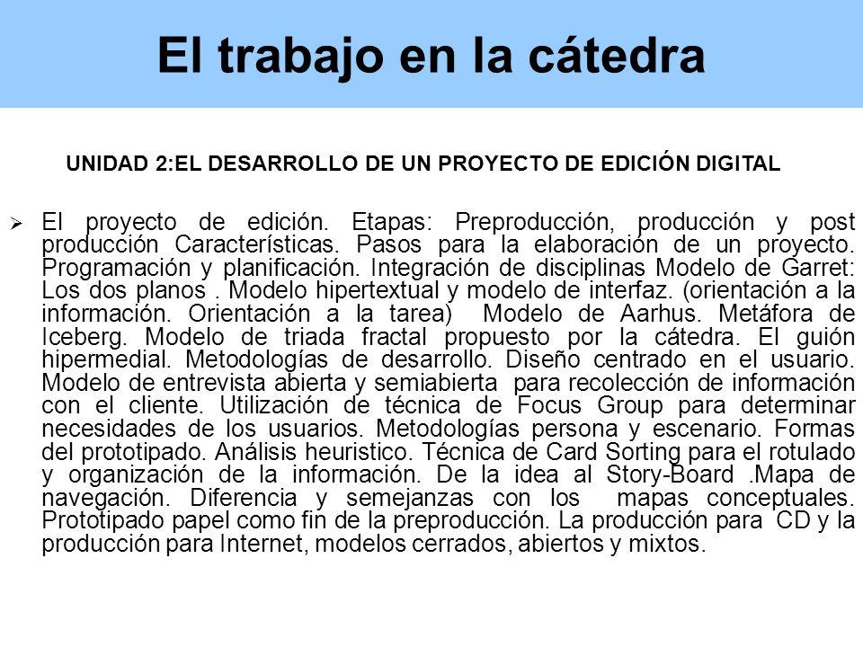 El trabajo en la cátedra El proyecto de edición.