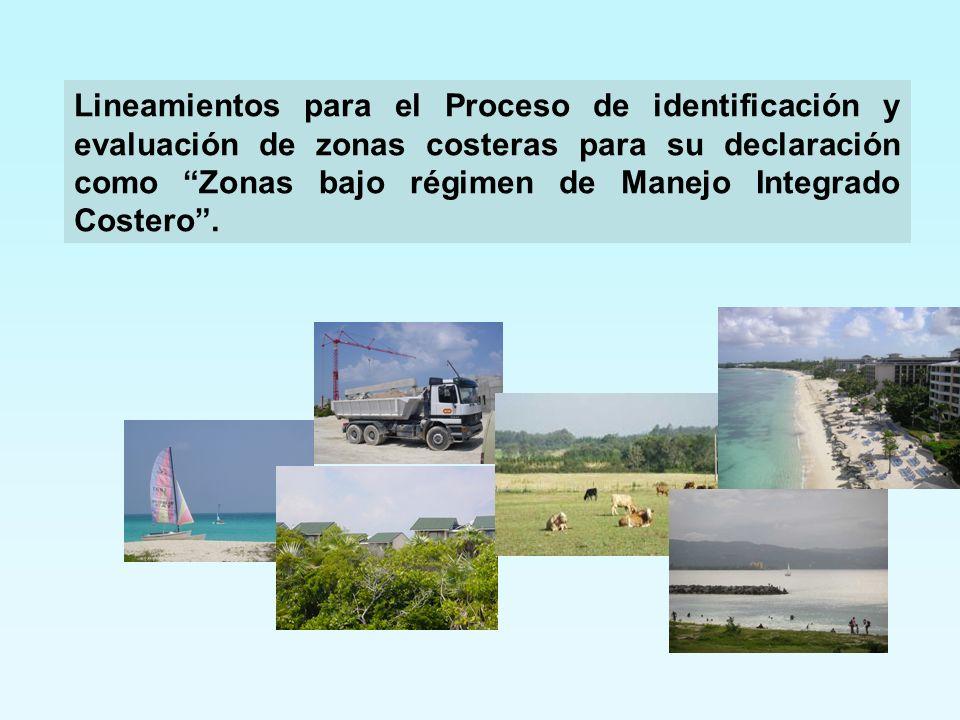Lineamientos para el Proceso de identificación y evaluación de zonas costeras para su declaración como Zonas bajo régimen de Manejo Integrado Costero.