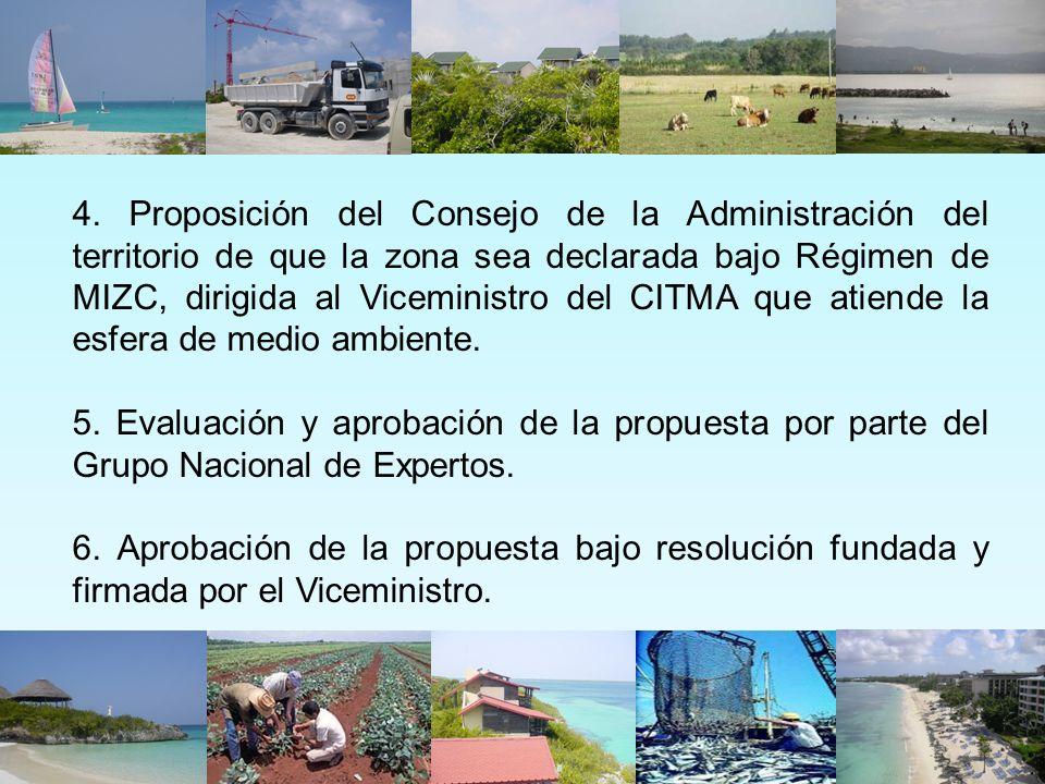 4. Proposición del Consejo de la Administración del territorio de que la zona sea declarada bajo Régimen de MIZC, dirigida al Viceministro del CITMA q