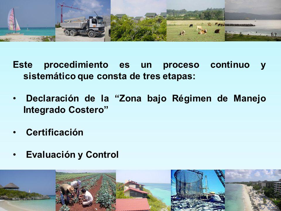 Este procedimiento es un proceso continuo y sistemático que consta de tres etapas: Declaración de la Zona bajo Régimen de Manejo Integrado Costero Cer