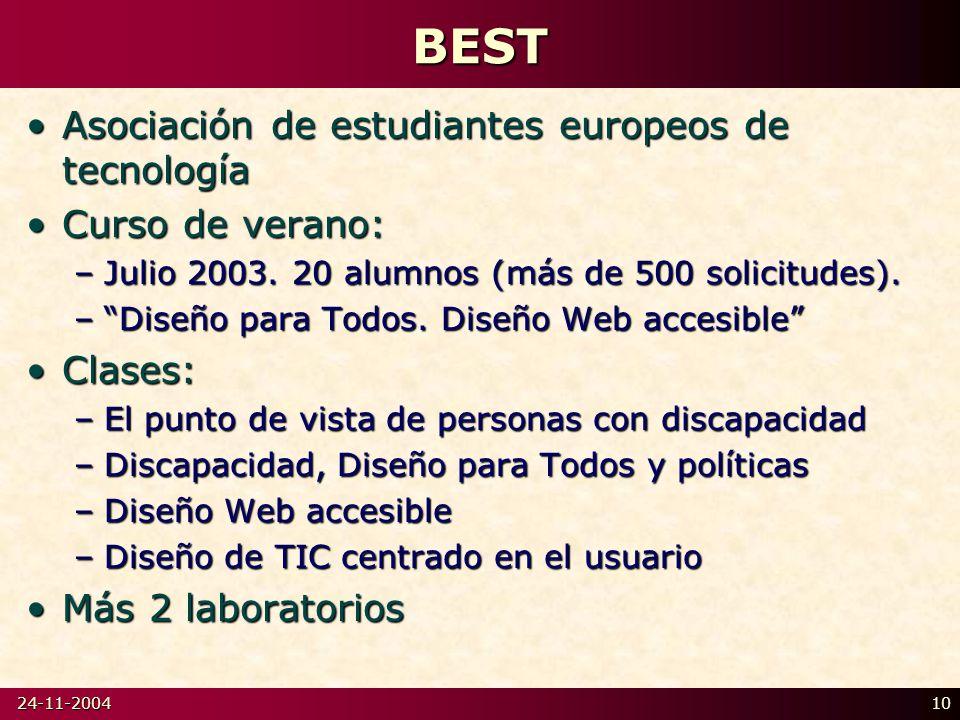 24-11-200410BEST Asociación de estudiantes europeos de tecnologíaAsociación de estudiantes europeos de tecnología Curso de verano:Curso de verano: –Julio 2003.