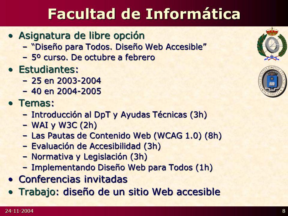 24-11-20048 Facultad de Informática Asignatura de libre opciónAsignatura de libre opción –Diseño para Todos.
