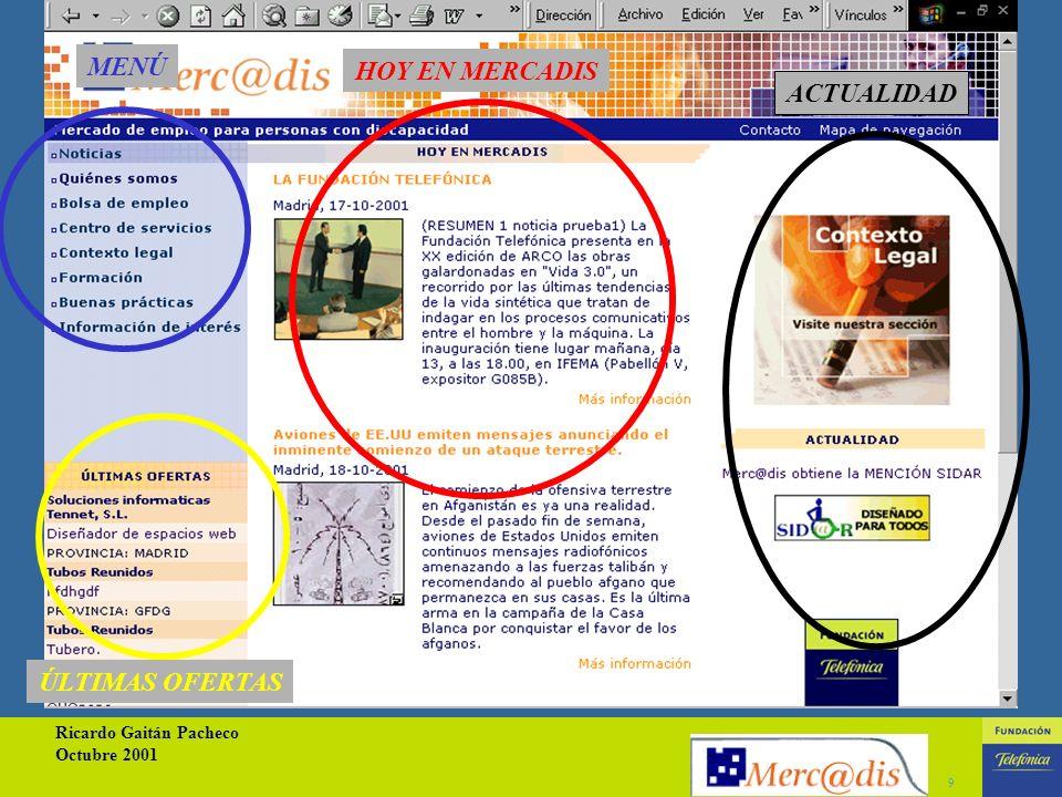 Ricardo Gaitán Pacheco Octubre 2001 9 MENÚ HOY EN MERCADIS ÚLTIMAS OFERTAS ACTUALIDAD
