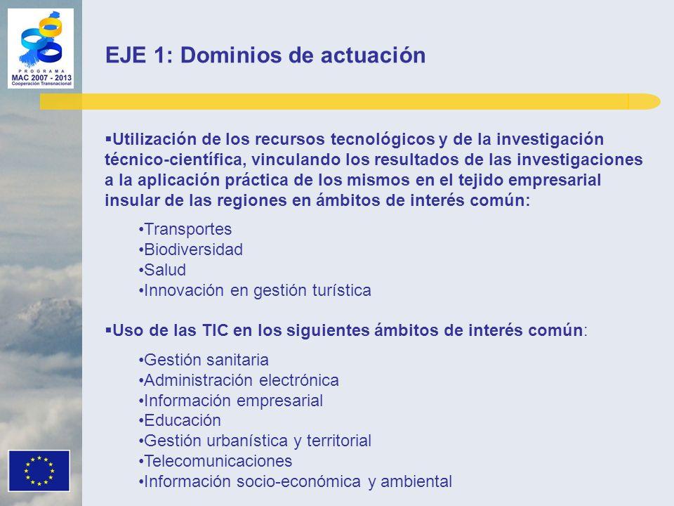 EJE 1: Dominios de actuación Utilización de los recursos tecnológicos y de la investigación técnico-científica, vinculando los resultados de las inves