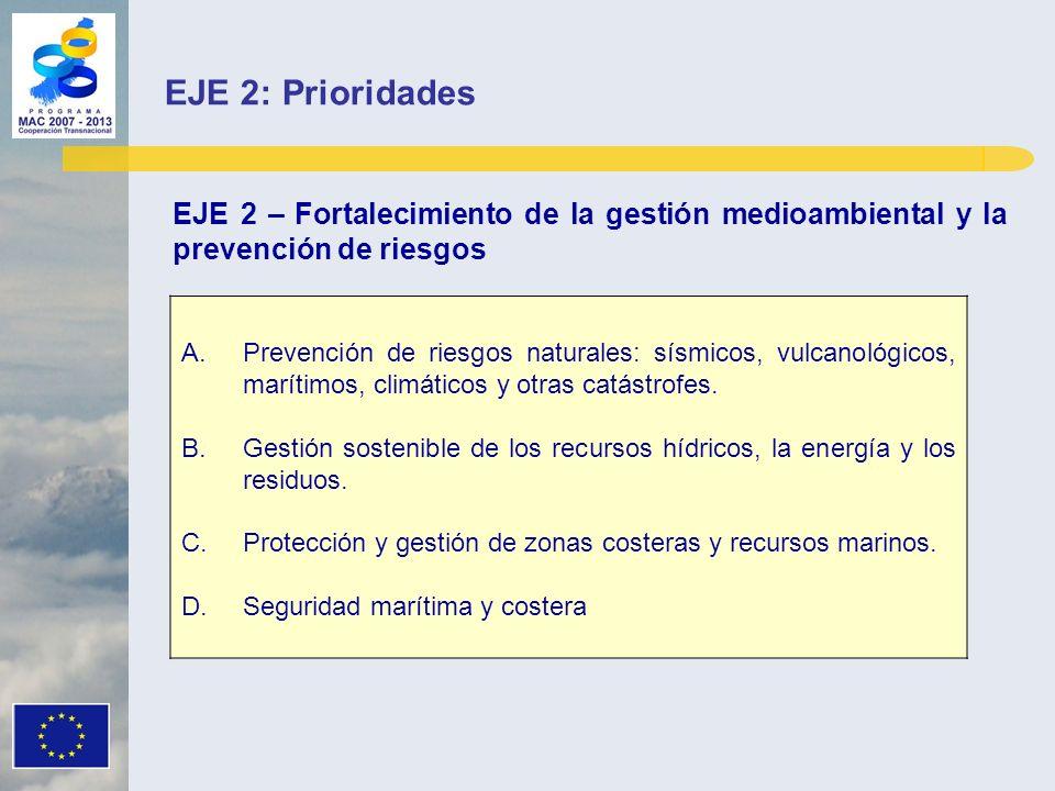 EJE 2 – Fortalecimiento de la gestión medioambiental y la prevención de riesgos A.Prevención de riesgos naturales: sísmicos, vulcanológicos, marítimos, climáticos y otras catástrofes.