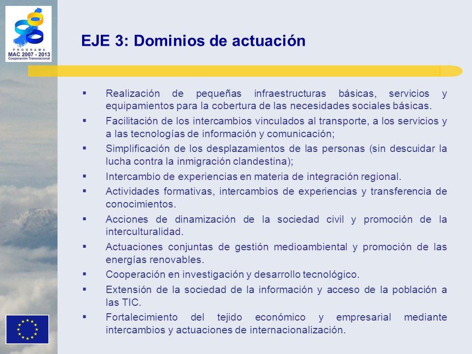 EJE 3: Dominios de actuación Realización de pequeñas infraestructuras básicas, servicios y equipamientos para la cobertura de las necesidades sociales básicas.