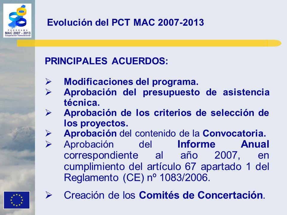 PRINCIPALES ACUERDOS: Modificaciones del programa. Aprobación del presupuesto de asistencia técnica. Aprobación de los criterios de selección de los p