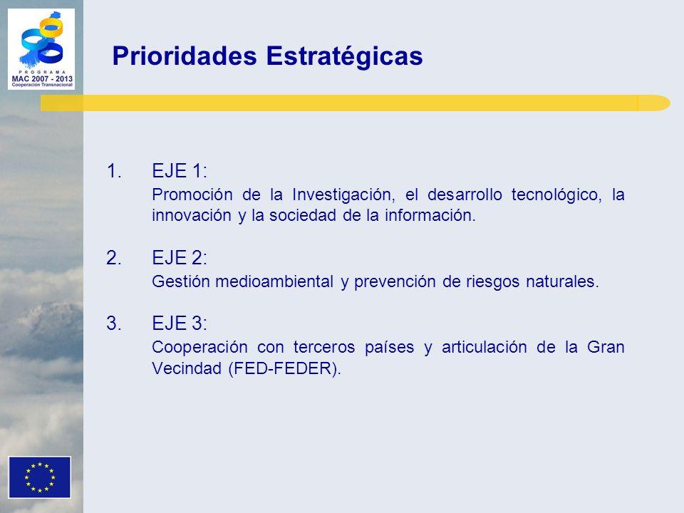 1.EJE 1: Promoción de la Investigación, el desarrollo tecnológico, la innovación y la sociedad de la información. 2.EJE 2: Gestión medioambiental y pr