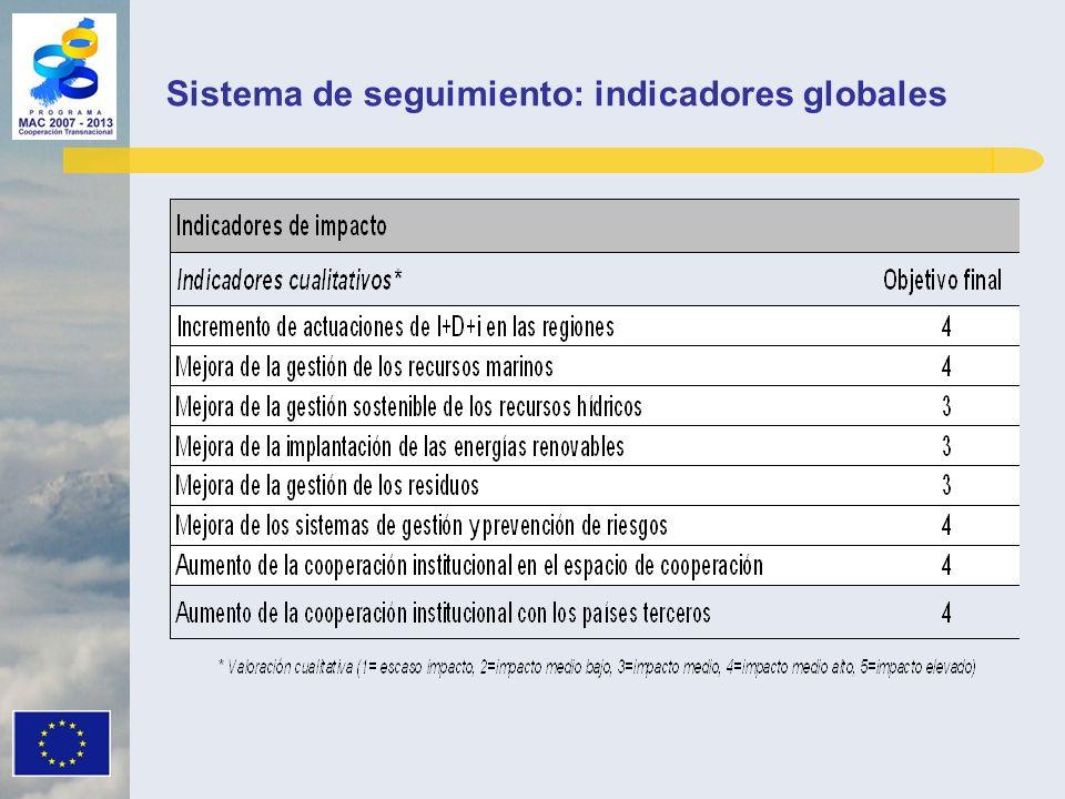 Sistema de seguimiento: indicadores globales