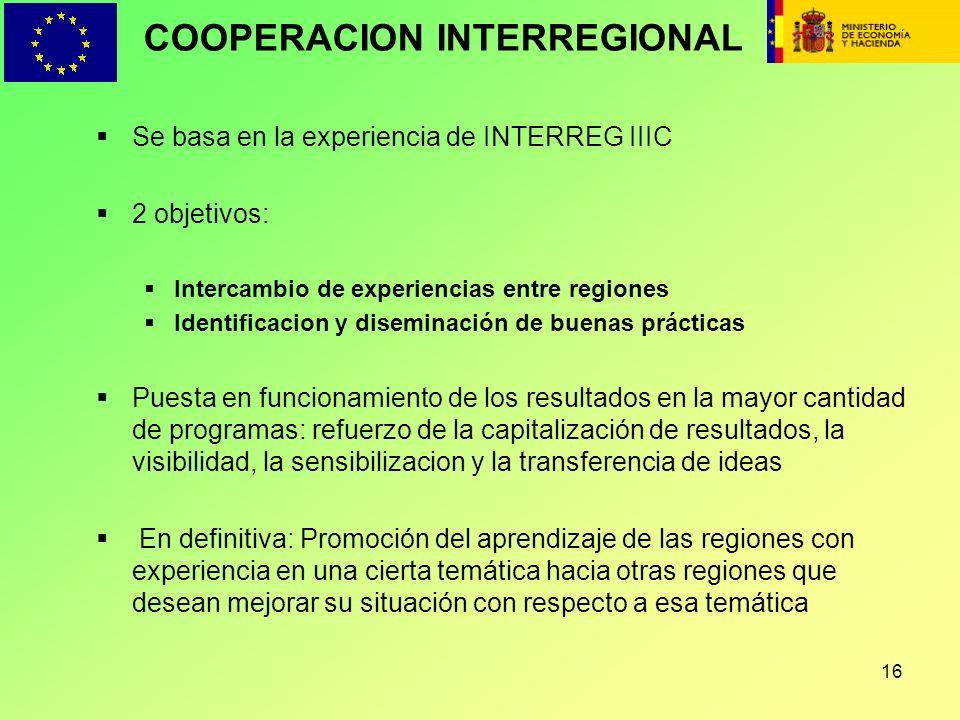 16 COOPERACION INTERREGIONAL Se basa en la experiencia de INTERREG IIIC 2 objetivos: Intercambio de experiencias entre regiones Identificacion y disem