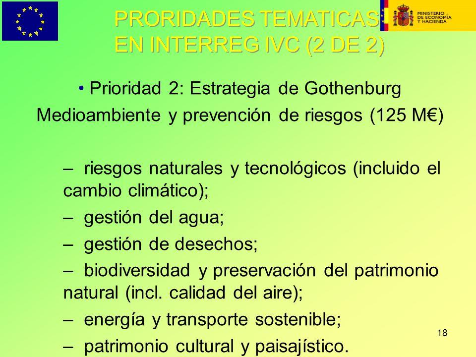 18 PRORIDADES TEMATICAS EN INTERREG IVC (2 DE 2) Prioridad 2: Estrategia de Gothenburg Medioambiente y prevención de riesgos (125 M) – riesgos natural