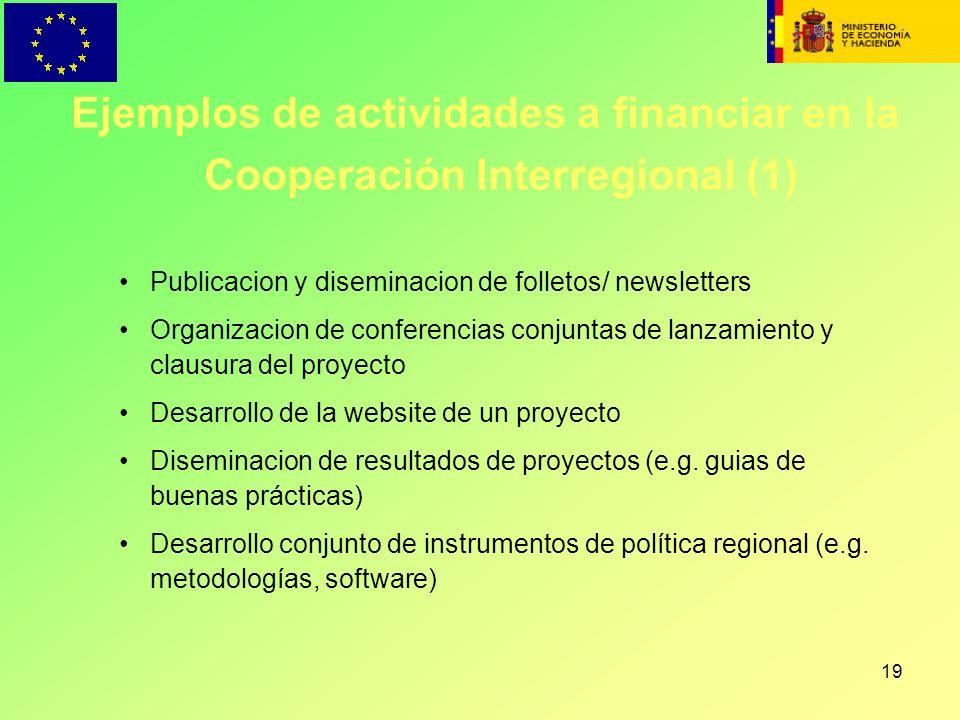 19 Publicacion y diseminacion de folletos/ newsletters Organizacion de conferencias conjuntas de lanzamiento y clausura del proyecto Desarrollo de la