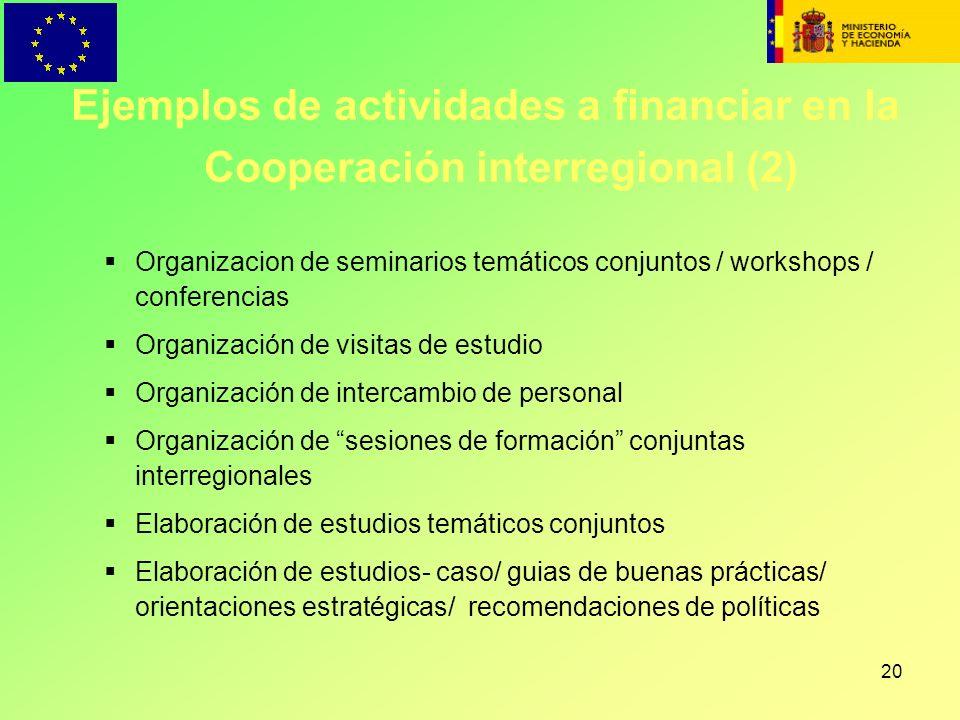 20 Organizacion de seminarios temáticos conjuntos / workshops / conferencias Organización de visitas de estudio Organización de intercambio de persona