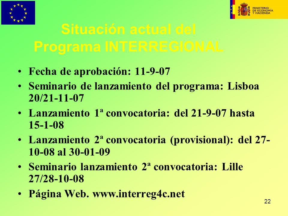 22 Situación actual del Programa INTERREGIONAL Fecha de aprobación: 11-9-07 Seminario de lanzamiento del programa: Lisboa 20/21-11-07 Lanzamiento 1ª c