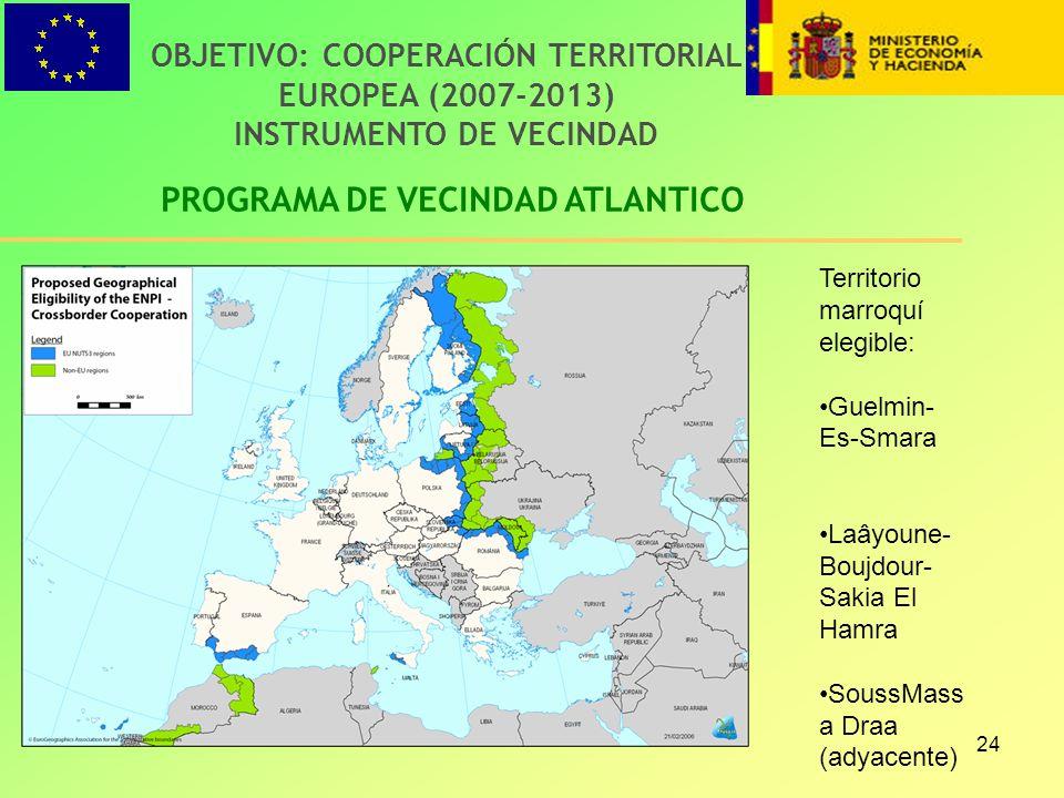24 PROGRAMA DE VECINDAD ATLANTICO OBJETIVO: COOPERACIÓN TERRITORIAL EUROPEA (2007-2013) INSTRUMENTO DE VECINDAD Territorio marroquí elegible: Guelmin-