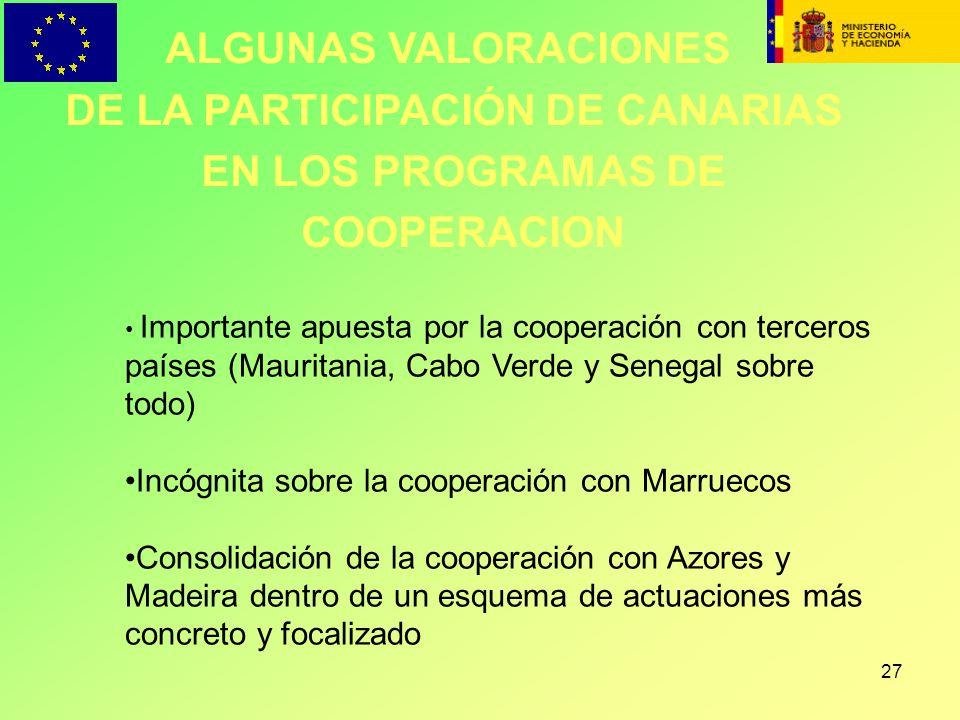 27 ALGUNAS VALORACIONES DE LA PARTICIPACIÓN DE CANARIAS EN LOS PROGRAMAS DE COOPERACION Importante apuesta por la cooperación con terceros países (Mau