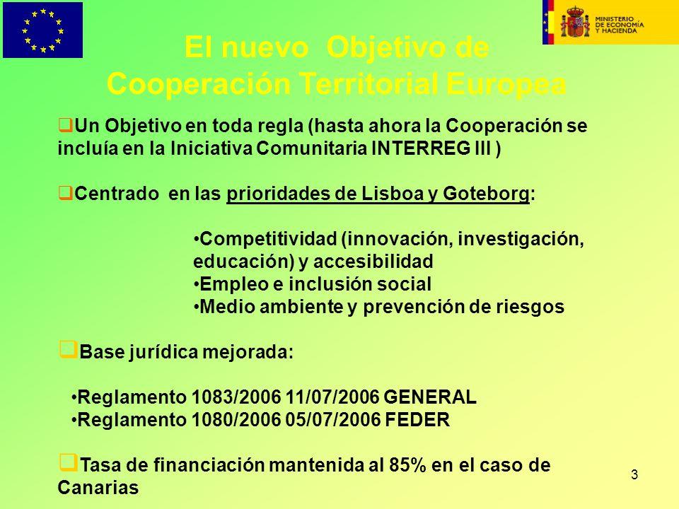 3 El nuevo Objetivo de Cooperación Territorial Europea Un Objetivo en toda regla (hasta ahora la Cooperación se incluía en la Iniciativa Comunitaria I
