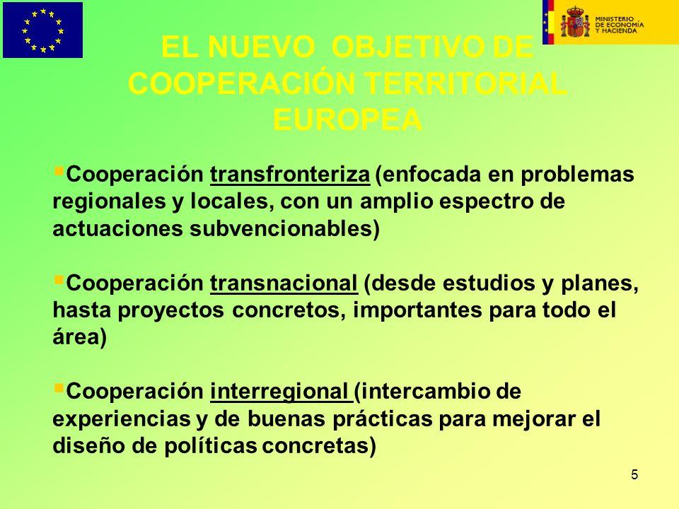 5 EL NUEVO OBJETIVO DE COOPERACIÓN TERRITORIAL EUROPEA Cooperación transfronteriza (enfocada en problemas regionales y locales, con un amplio espectro