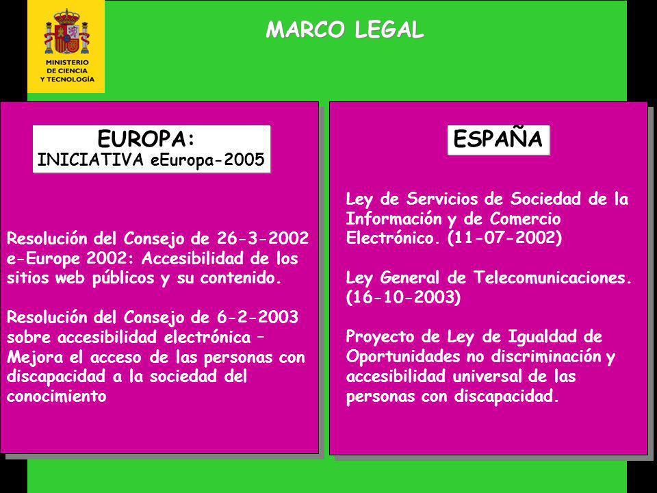 MARCO LEGAL Resolución del Consejo de 26-3-2002 e-Europe 2002: Accesibilidad de los sitios web públicos y su contenido.