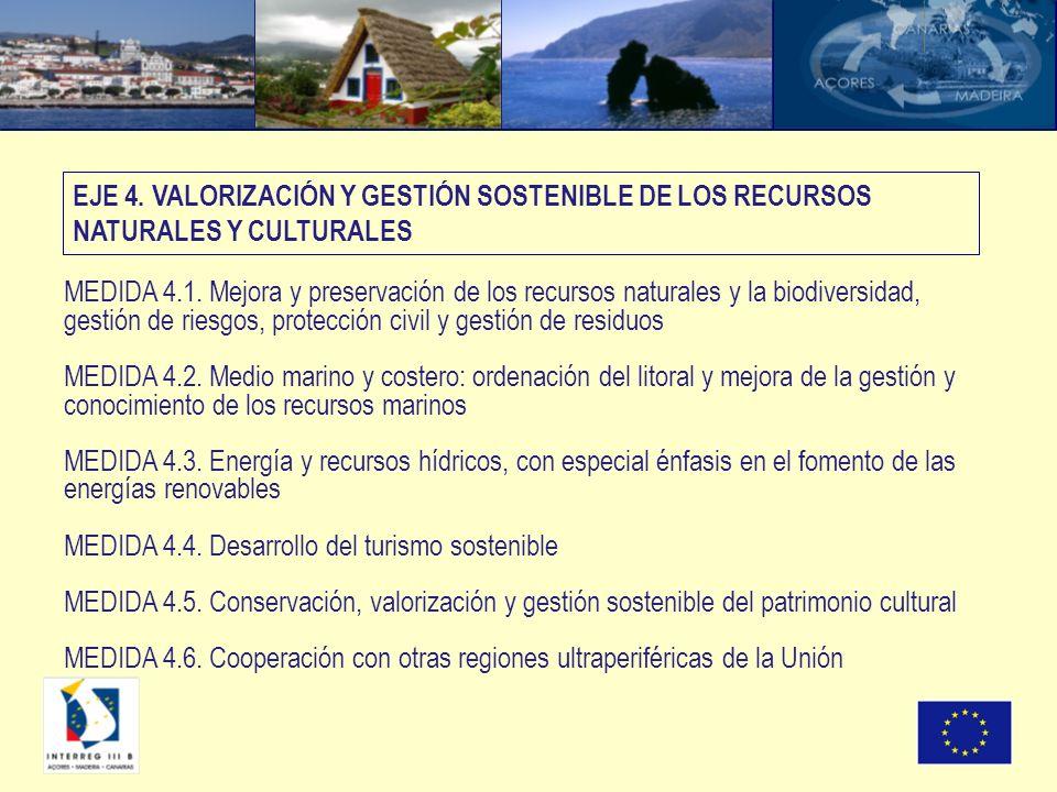 MEDIDA 4.1. Mejora y preservación de los recursos naturales y la biodiversidad, gestión de riesgos, protección civil y gestión de residuos MEDIDA 4.2.